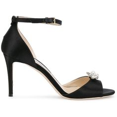 Jimmy Choo crystal embellished satin sandals ($995) ❤ liked on Polyvore featuring shoes, sandals, black, satin shoes, black satin shoes, jimmy choo shoes, black sandals and kohl shoes