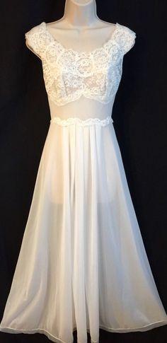 Vintage 1950s Vanity Fair Nightgown SZ 34 Bridal White Ivory Lace Tricot Nylon S  | eBay