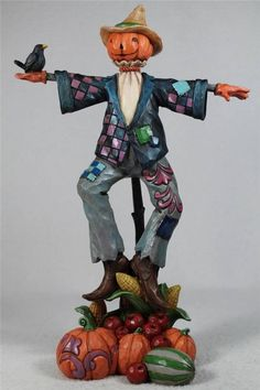 Jim Shore 'Being Scary Is for The Birds' Scarecrow w Pumpkin Head 4041149 | eBay