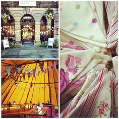 Mixture of three fabrics with a pinkey heather tone: floral, dots and stripes. Available in 10 metre lengths to hire (UK only) Bunting, Fabrics, Dots, Stripes, Floral, Vintage, Tejidos, Stitches, Garlands