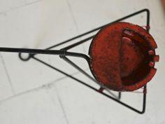 Ceramic ashtray on metal stand