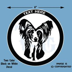 CHINESE CRESTED - DOG - Personalized 2 Color Vinyl Decal #D033