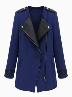 Zipped Coat With Leather Look Detail