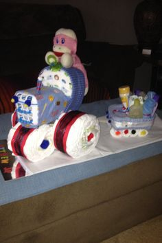 My tractor diaper cake without the creepy monkey