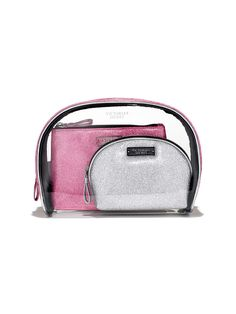 Cosmetic Bag Trio in silver/Pink $45- Victoria's Secret - Victoria's Secret