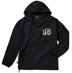 Black Lightweight Pack-N-Go Rain Jacket Monogrammed by LifeAStitch