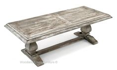 Reclaimed Wood Trestle Table by Woodland Creek Furniture in Custom Sizes & Finishes. Shown in Gray Wash Finish (Urban Graphite).