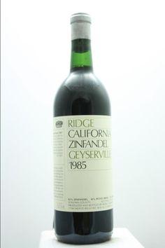 Ridge Vineyards Zinfandel Geyserville 1985. United States, California, Alexander Valley. 1 Bottle 0,75l. Price realized (10/2016): 54 USD (1.335 CZK).