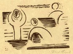 Josef Čapek, koupání, linocut 13 x 19 cm, 1917 Writers And Poets, Line Drawing, Stamps, Art Gallery, Drawings, Paper, Illustration, Artist, Prints
