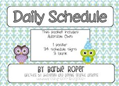 This is a Owl inspired daily schedule cards! The Blue patterned background and cute graphics will help with organization and keep you on schedule! ...
