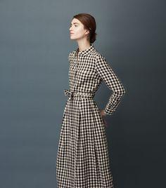 Toast / Gingham check pattern dress / Belt waist