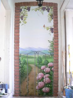 Finta porta. www.cristinapolliotti.it Bob Ross Art, Door Murals, Murals Street Art, Amazing Street Art, She Sheds, Panel Doors, Simple Living, New Homes, Wall Decor