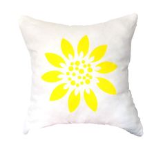 Yellow  Sunflower Pillow Cover Hand Printed by AnyarwotDesigns, $19.99