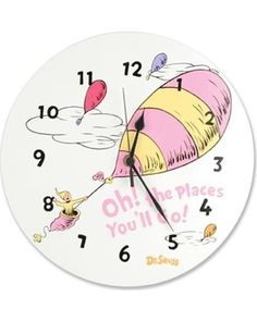 Add a touch of whimsy to Baby's #nursery with this #DrSeuss wall clock.