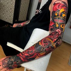 I quite simply am keen on the different colors, outlines, and fine detail. This is really the perfect tattoo design if you want inspiration for a Asian Tattoo Sleeve, Colorful Sleeve Tattoos, Arm Sleeve Tattoos, Japanese Sleeve Tattoos, Tattoo Sleeve Designs, Full Arm Tattoos, Cover Up Tattoos, Body Art Tattoos, Neo Tattoo