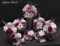 Purple BEADED Flower Lily Quinceanera Bouquet 16 PC Set FREE BOUTONNIERES