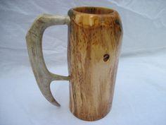 Antler handle beer mug, wooden mug, sca tankard, wooden stein