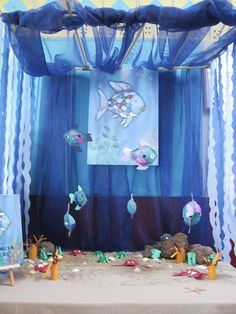 Under the sea and ocean small world play area. Rainbow Fish Activities, Preschool Activities, Classroom Displays, Classroom Decor, Role Play Areas, Dramatic Play Centers, Small World Play, Under The Sea Theme, Ocean Crafts
