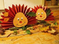 Vouw een waaier van papier, knip hier puntjes aan en plak er gezichtje op en klaar is je egel. Versier evt. met herfstbladeren. Simpel en leuk om met de kinderen te doen.