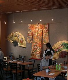 Fans and a Kimono on display at Detroit International Airport. Wall Fans, Restaurant Decor, Decor, Japanese Home Decor, Household Decor, Interior Display, Fabric Wall Art, Asian Inspired Decor, Japanese Decor