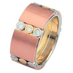 Tri-Color Diamond Wedding Ring | www.weddingbands.com | @Judy Clark Bands