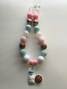 Milk and Cookies Chunky Bead necklace by MissMelsCottage on Etsy