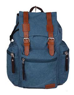 1eafea06fc Belvie vendimia unisex Casual mochila de lona Mochila Bookbag Satchel Bag  Senderismo 8171 (azul)