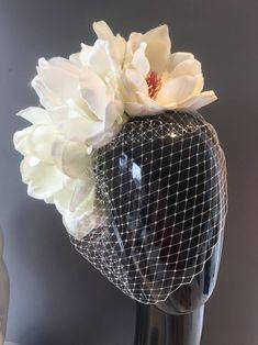 Flower Headdress, Bridal Headdress, Bridal Headpieces, Flower Brooch, Billie Holiday, Ivory Fascinator, Fascinator Headband, Floral Fascinators, Floral Headbands