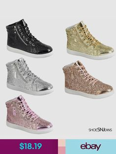 bdda1598af4f New Women High Top Glitter Sneakers Lightweight Walking Athletic Lace Up  Shoes