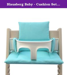 Blausberg Baby - Cushion Set for Tripp Trapp High Chair of Stokke - Turquoise Dots. Make your Tripp Trapp high chair a comfy and eye catching piece of furniture for your baby or toddler with this Tripp Trapp cushion set by Blausberg Baby. The cosy padding ensures a relaxed and agreeable sitting experience for your little one. Our set comprises two cushions, one for the bottom and one for the back. They have been especially designed for the Tripp Trapp high chair and fit to perfection....