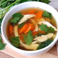 Homemade Chicken No-Noodle Soup- this is my favorite chicken soup. So simple and very comforting.