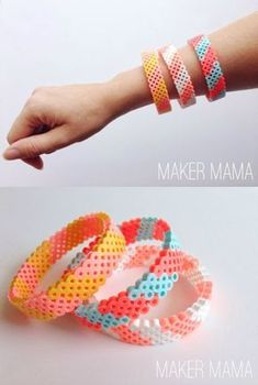 Have you ever tried hama beads, aka perler beads? This unique bracelet DIY will … Have you ever tried hama beads, aka perler beads? This unique bracelet DIY will give you a chance to try them – so fun and easy! Perler Bead Designs, Hama Beads Design, Hama Beads Patterns, Beading Patterns, Loom Patterns, Embroidery Patterns, Peyote Patterns, Mosaic Patterns, Canvas Patterns