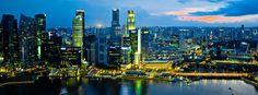 Singapore Sky Line and Sunset..