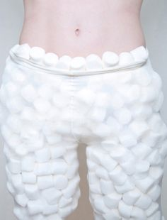 Sheer tights filled with marshmallows