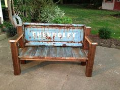 Chevrolet Tailgate Bench Reclaimed Wood by RustandFound on Etsy, $410.00