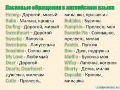 Ласковые обращения в английском языке #English #Learningenglish #Vocabulary