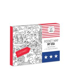 This pocket map of the USA is customizable — your little one can color on it + make notes of their favorite places in the USA!