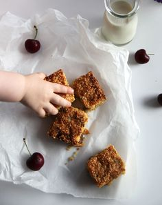 Muesli bars suitable for toddlers. Full of healthy ingredients; sultanas, pepitas, apple, coconut, maple syrup and puffed amaranth