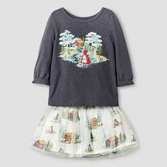 Toddler Girls' Graphic Tee ( Toile Skirt ) Top & Legging Gray/Cabin Print - Genuine Kids from Oshkosh™ : Target