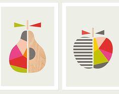 Geometric Apple and Pear Series of Two, Nursery Decor, Modern Nursery Art, Modern Kids Wall Art, Kids Room Art.