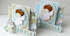 Przemienność papierów w kartkach dla chłopców na okoliczność chrztu - lubię takie próbowanki:) Side Step Card, Step Cards, First Communion, Handmade Baby, Baby Cards, Flower Crafts, Quilling, Holi, New Baby Products