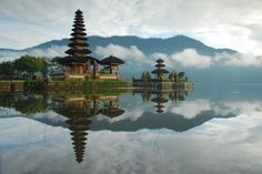 "Temple on the bank of Beratan lake called ""Pura Ulun Danu"""