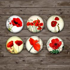Poppy Circle Printable Images 1.5 inch, 35mm, 30mm, 1 inch - Digital Collage Sheet Instant Download