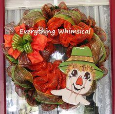 Original hand painted scarecrow on a fFall / Autumn Decor  mesh wreath.