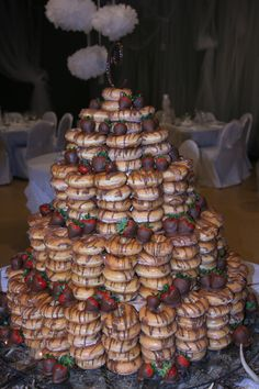 This is a donut cake I did for a wedding. So much fun!!! bambi donut cake of her dreams