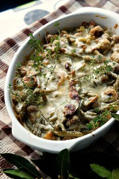 Gratin of creamy green beans with mushrooms,parmesan and thyme (Original recipe in French)