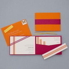 pocket folder invitation suite in asymmetrical ribbons by dear lc via etsy