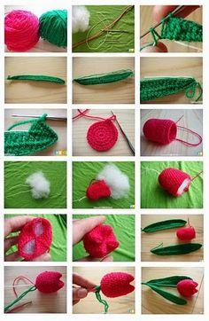 Tulipanes de Crochet como hacerlos. Dia de la Madre - Patrones Crochet