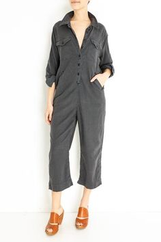 Cotton, Lyocell, Linen, Spandex Color: Wash Black Front pockets Single button cuff Model is and wears a size Small Cut Off Sweatshirt, Stylish Gown, Boiler Suit, Playsuit Romper, Crop Tee, Jumpsuits For Women, Style Guides, Capri Pants, Rompers