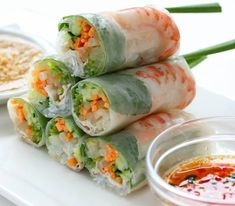 This spring roll recipe provides a really tasty meal choice which includes fresh vegetables and shrimp as well as a flavorful dipping sauce. Shrimp Spring Rolls Recipe from Grandmothers Kitchen. I don't eat shrimp so I cooked chicken Sushi Recipes, Seafood Recipes, Cooking Recipes, Game Recipes, Vietnamese Recipes, Asian Recipes, Vietnamese Food, Vietnamese Restaurant, Japanese Recipes
